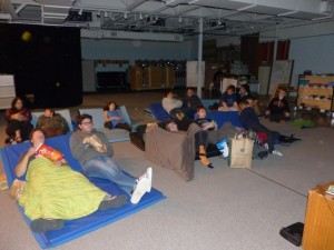 Multi-purpose space turned movie theater.